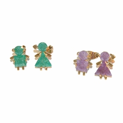 1-1170-e12 Gold Layered Boy and Girl Earrings with Ice Stones. 15mm. 2 colors. Pair is 1 boy and 1 girl.
