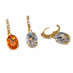 "1-1174-e12 Gold Layered Fancy Drop Stone earrings. Light weight. 1.25"" length. 10x14mm stone. 2 colors."