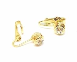 1-1174-f5 18kt Brazilian Gold Layered Crystal Clip Earrings