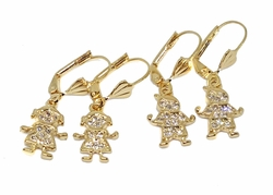 1-1175-f10 18kt Brazilian Gold Layered My Kids CZ Earrings. 1.25 inches long.