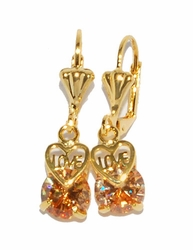 1-1177-D2-2 Peach CZ Love Earrings