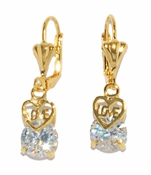 1-1177-D2 White CZ Love Earrings