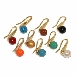 "1-1179-e10 Gold Plated Hook Earrings with 10mm colored Ball. 9 colors available. 1-1/4"" length."