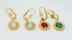 1-1184-f10 18kt Brazilian Gold Layered Colored Crystal Earrings. 1.25 inches length.