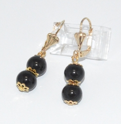 1-1186-f6 18kt Brazilian Gold Layered Double Black Onyx Bead Earrings. 1.5 inches length, 8mm beads.