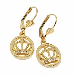 1-1187-f10 18kt Brazilian Gold Layered Crown Earrings with CZ accents. 1.25 inches