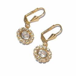 1-1192-f3 18kt Brazilian Gold Layered Drop CZ Earrings with Crystal Accents