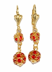 1-1195-D2-3 Red Fireball Earings