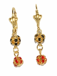 1-1195-D2 Black and Red Fireball Earings