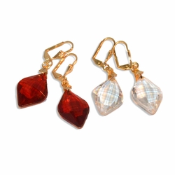"""1-1196-e8 Drop Faceted Crystal Look Earrings. Stones are Synthetic Crystal. 2"""" in length"""