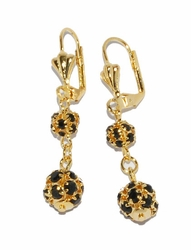 1-1197-D2-2 Black Fireball Earrings