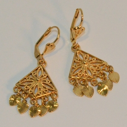 "1-1197-e6 Gold Plated Triangular Dangling Gypsy Earrings. 1.5"" in length."