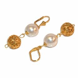 "1-1197-e9 Gold Plated Filigree ball and Pearl Earrings. 2"", 12mm balls."
