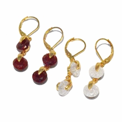 1-1197-f3 18kt Brazilian Gold Layered Drop Earrings with Ice Stones