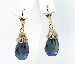 "1-1199-f11 18kt Brazilian Gold Layered 12 mm Faceted Crystal 1-3/4"" Drop Earrings. 3 colors available."
