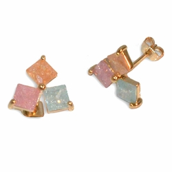 1-1200-e12 gold Layered Triple Cubed Studs Earrings with Ice Stones. 11mm.