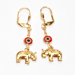 1-1203-D1 Ealephant Evil Eye Earrings (2 Colors Available)
