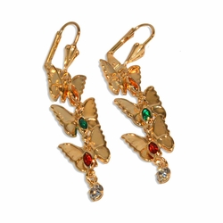 1-1203-e9 Gold Plated Butterfly Multicolor Earrings. 2-1/4""