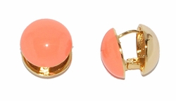 1-1204-D1 Pink Coral Circle Earrings