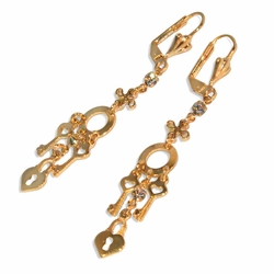 "1-1204-e10 Gold Plated Dangling Key and Lock Heart Earrings. 2-1/4"" length."