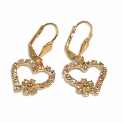 "1-1204-e19 Gold Plated Heart earrings with Crystals. 1-1/2""."