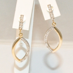 1-1204-e3 Two Tone Drop Earrings