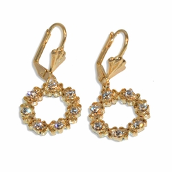 "1-1204-e9 Gold Plated Circle Earrings with Crystals. 1-1/2""."
