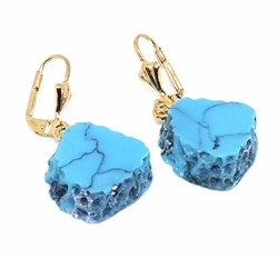 "1-1206-f11 18kt Brazilian Gold Layered 1-1/2"" Drop Earrings with Synthetic Turquoise Replica Stones. 15mm."
