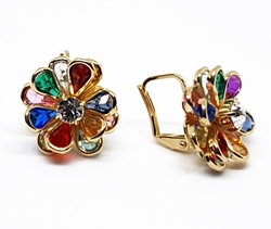 1-1208-f10 18kt Brazilian Gold Layered Multicolor Flower Earrings with French Hook. 16mm.