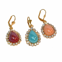 "1-1211-e12 Gold Plated Drop Shaped Earrings. 1.75"" length, 19mm wide. 3 colors available."