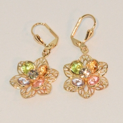 "1-1215-e6 Multicolor Crystals Flower Earrings. 20mm flower and 1.5"" length."