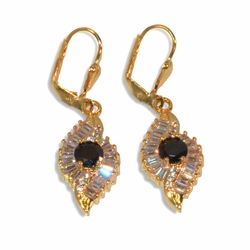 1-1216-e10 Gold Plated Fancy CZ Earrings with Black. 1.75""