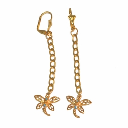 "1-1231-e12 Gold Layered Long Dragonfly Earrings. 3"" length, 15mm dragonfly."