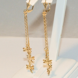1-1235-e4 Dangling Dragonfly Earrings