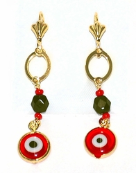 1-1236-D4 Red and Black Evil Eye Earrings
