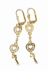 1-1237-D2 Heart Key Earrings