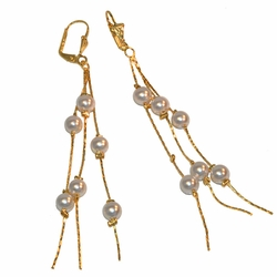 "1-1237-e12 Gold Layered Dangling Pearls Earrings. 4"" length. 6mm pearls."