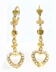 1-1239-D4 Drop Heart Earrings
