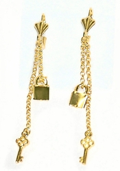 1-1239-D6 Lock and Key Drop Earrings