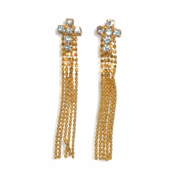 "1-1241-1-e9 Crystals Cross with Dangling Strips. 1-1/2"" length."