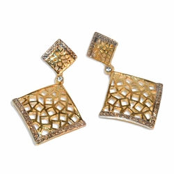 "1-1243-e9 Gold Plated Two Tone Brazilian Style Earrings. 1-3/4""."