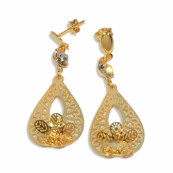 "1-1244-e19 Gold Plated Filigree with Flower Earrings. 18mm wide, 2"" length."