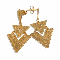 "1-1244-e29 Gold Plated Triangular Gypsy Earrings. 25mm, 2"" length."
