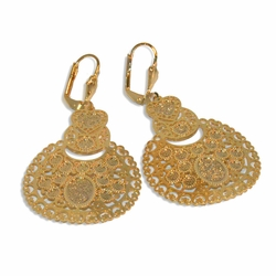 "1-1244-e9 Gold Plated Round Gyspsy Earrings. 30mm wide, 2"" length."