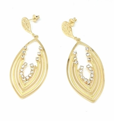 1-1246-f5 18kt Brazilian Gold Layered Leaf Shaped Earrings with Crystals