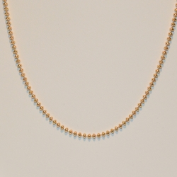1-1525-1-e3 *Gold Plated Beads Chain 2.75mm 17""