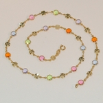 "1-1610-e6 Multicolor Flowers Necklace. 18"" in length, 6mm flowers."