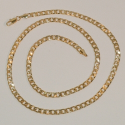 "1-1841-e6 Diamond Cut Curb Link Chain. Available in 20"" & 24"" length, 5mm wide."