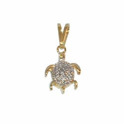 1-2114-e12 Gold layered, Two tone turtle pendant, 11mm,