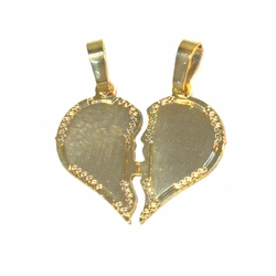 1-2186-f2 18kt Brazilian Gold Layered Breackable 2pc Heart Pendant,